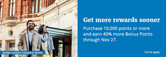 Get more rewards sooner. Purchase 10,000 points or more and earn 40% more Bonus Points through November 27. Terms apply.
