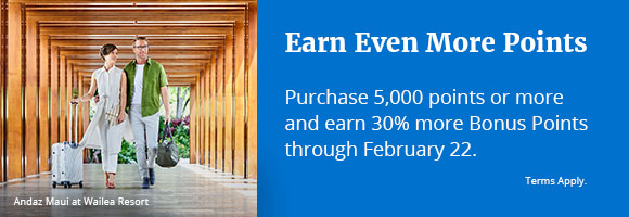 Earn Even More Points. Purchase 5,000 points or more and earn 30% more bonus Points. Terms Apply. Offer ends Feb 22, 2019.