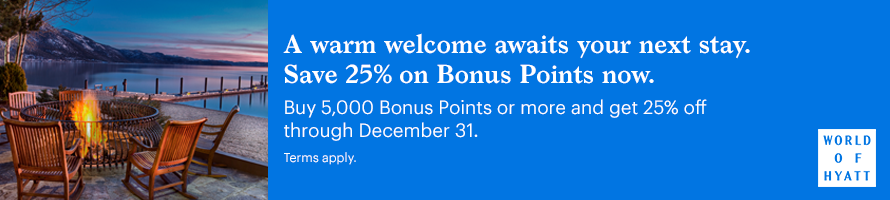 A warm welcome awaits your next stay. Save 25% on Bonus Points now. Buy 5,000 Bonus Points or more and get 25% off through December 31. Terms apply.